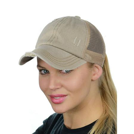 Distressed Mesh Hat (C.C Ponycap Messy High Bun Ponytail Adjustable Mesh Trucker Baseball Cap Hat, Distressed)
