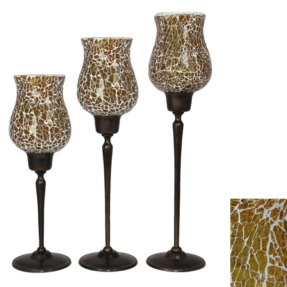 Stylish Candle Holder-Set of 3 - Benzara