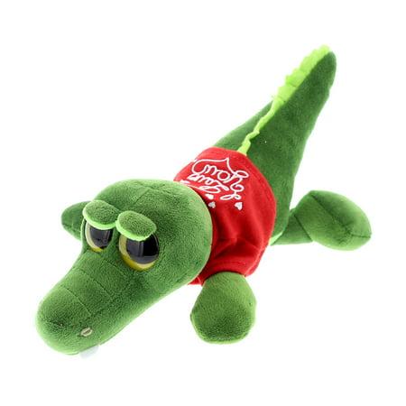 Super Soft Plush Dollibu Green Alligator Big Eye Red I Love You Shirt Valentines Plush - Green Plush