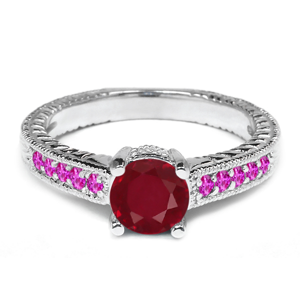 1.23 Ct Round Red Ruby Pink Sapphire 925 Sterling Silver Engagement Ring by