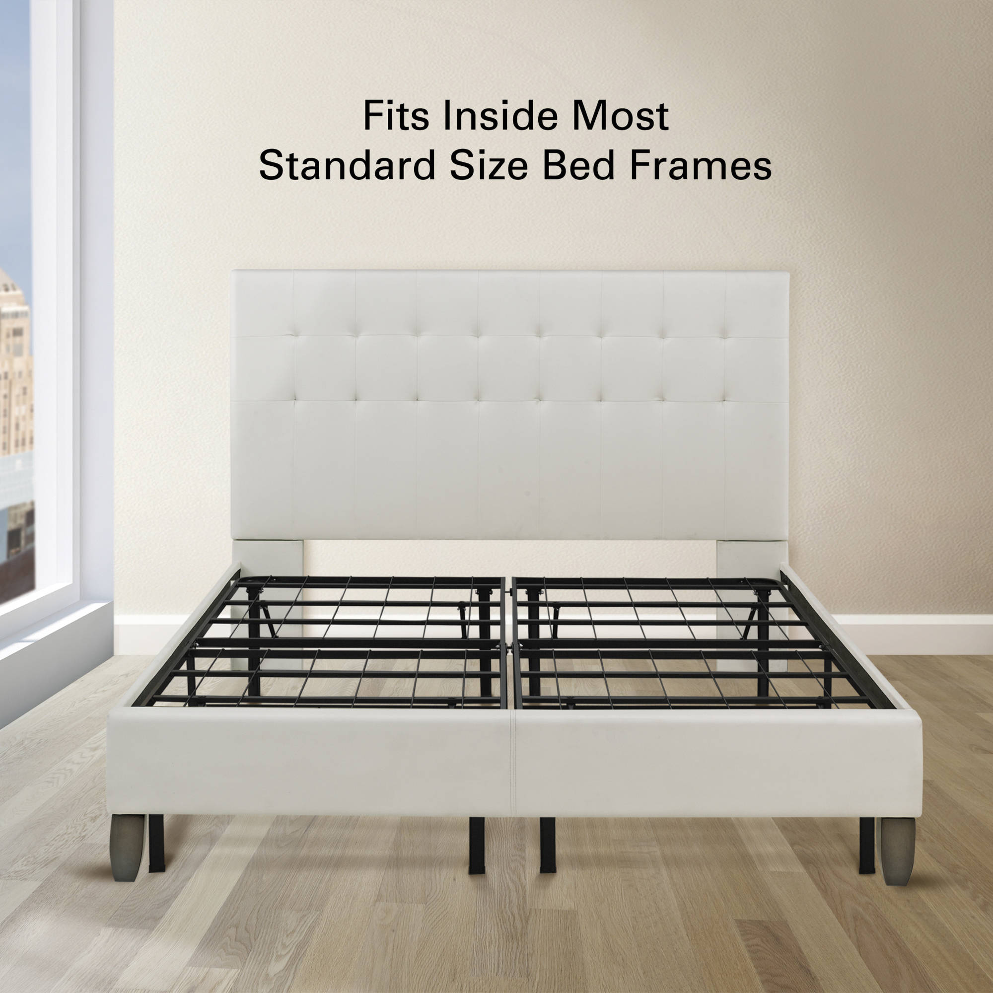premier 14 high profile platform metal base foundation bed frame with under bed storage easy assembly multiple sizes walmartcom - Bed Frame For Boxspring And Mattress