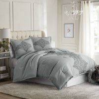 Hotel Style Manchester Comforter Set, Grey, Queen
