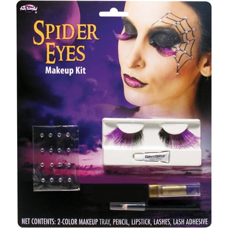 Spider Eye Lashes Makeup Kit Adult Halloween Accessory - Spider Web Eyes Halloween Makeup