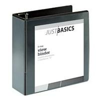"Just Basics D-Ring View Binder, Basic, 4"" Rings, 54% Recycled, Black"
