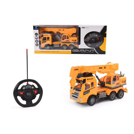 Remote Control Heavy Duty Construction Crain Truck Forward / Backward Left/Right with Lights, Lift Up The Bucket – 27 MHZ - Great Electronic Car Toys Gift for Your (Duty Control)