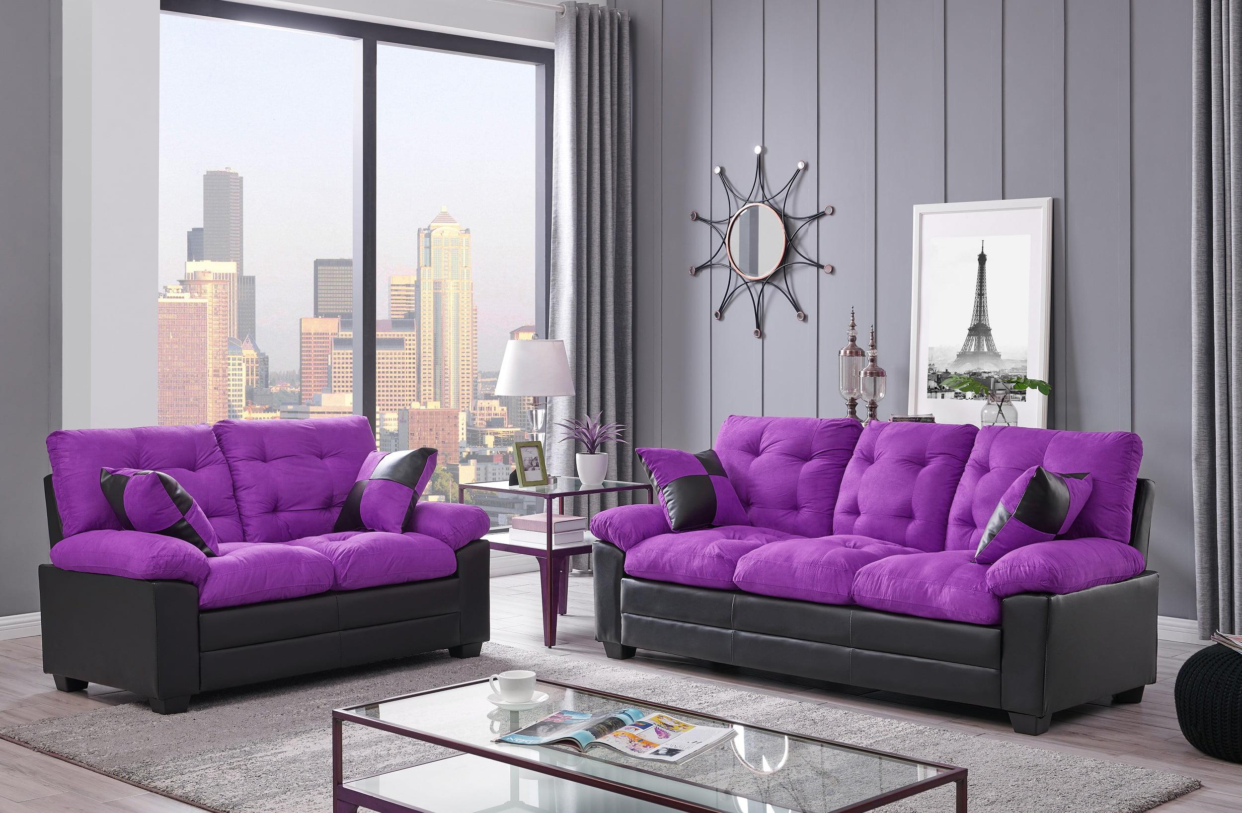 Living Room Simple Classic Plush Cushion Sofa And Loveseat Microfiber Upholstery Furniture Couch 2pc Sofa Set Purple And Black Color Walmart Com Walmart Com
