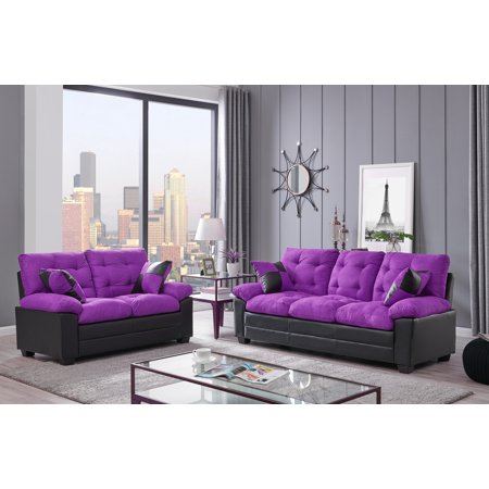 Living Room Simple Classic Plush Cushion Sofa And Loveseat Microfiber Upholstery Furniture Couch 2pc Sofa Set Purple And Black Color ()