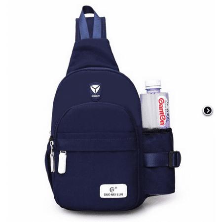 Men Women Nylon Crossbody Shoulder Bag Travel Casual Sling Cycle Chest Bag,Dark Blue