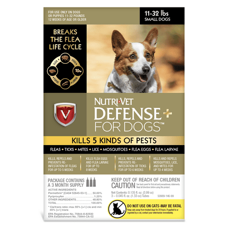 - Nutri-Vet K9 Defense Plus for Dogs Flea & Tick and More Small 11 Pounds to 32 Pounds
