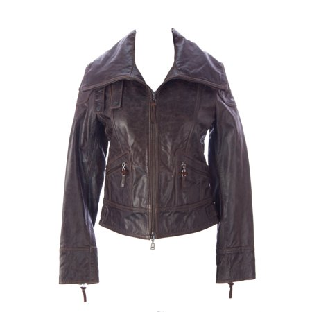 Doma Leather - Doma by Luciano Abitboul Women's Leather Motorcyle Jacket Sz X-Small Dark Brown