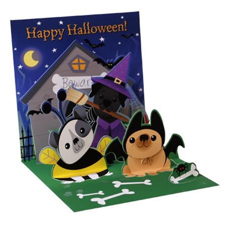 Up With Paper Dogs Like Candy Too Pop-Up Halloween Card - Halloween Candy Dog