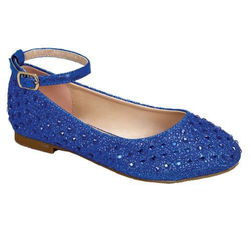 Girls Royal Blue Glittery Bejeweled