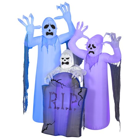 Halloween Airblown Inflatable ShortCircuit Ghosts Trio with Tombstone Scene by Gemmy Industries - Halloween Sales Ads