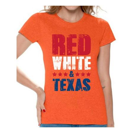 Awkward Styles Red White & Texas Shirt for Women American Women USA Flag Shirts Texas Tshirt 4th of July Shirts for Women Patriots Tshirt Gifts from Texas USA Shirts for Women USA Women's