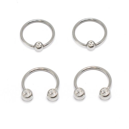 Captive Bead Ring & Circular Barbell 16G Horseshoe 4pc With Front Facing Clear CZ Gems Multi-functional Lip/Nose/Nipple/Eyebrown Captive Hoop Ring Barbell Tragus (Circular Horseshoe Rings)