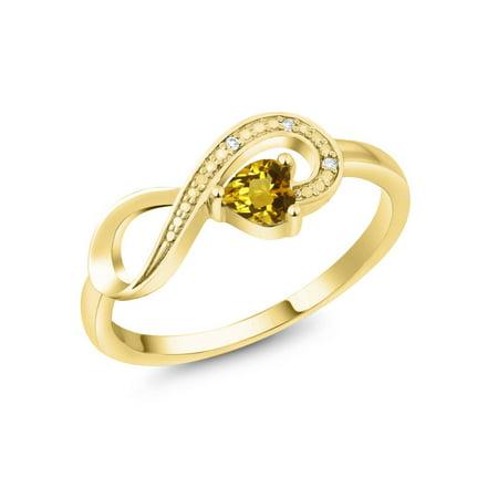 10K Yellow Gold 0.22 Ct Heart Shape Yellow Citrine Infinity Diamond Accent