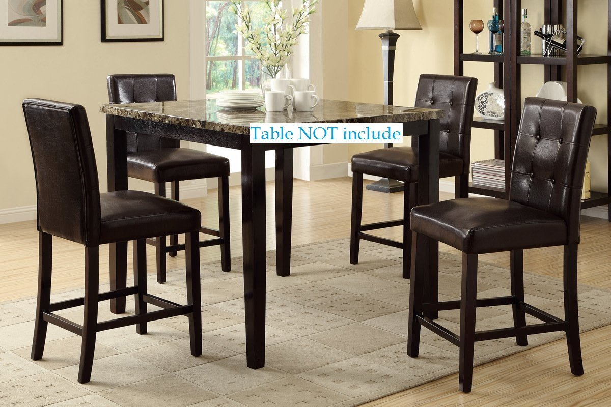 Set Of 4, Bar Stools Espresso Faux Leather Parson Counter Height Chairs,24  Inch