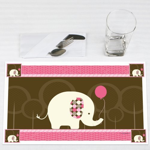 Pink Elephant Party Placemats Set of 12 by Big Dot of Happiness, LLC