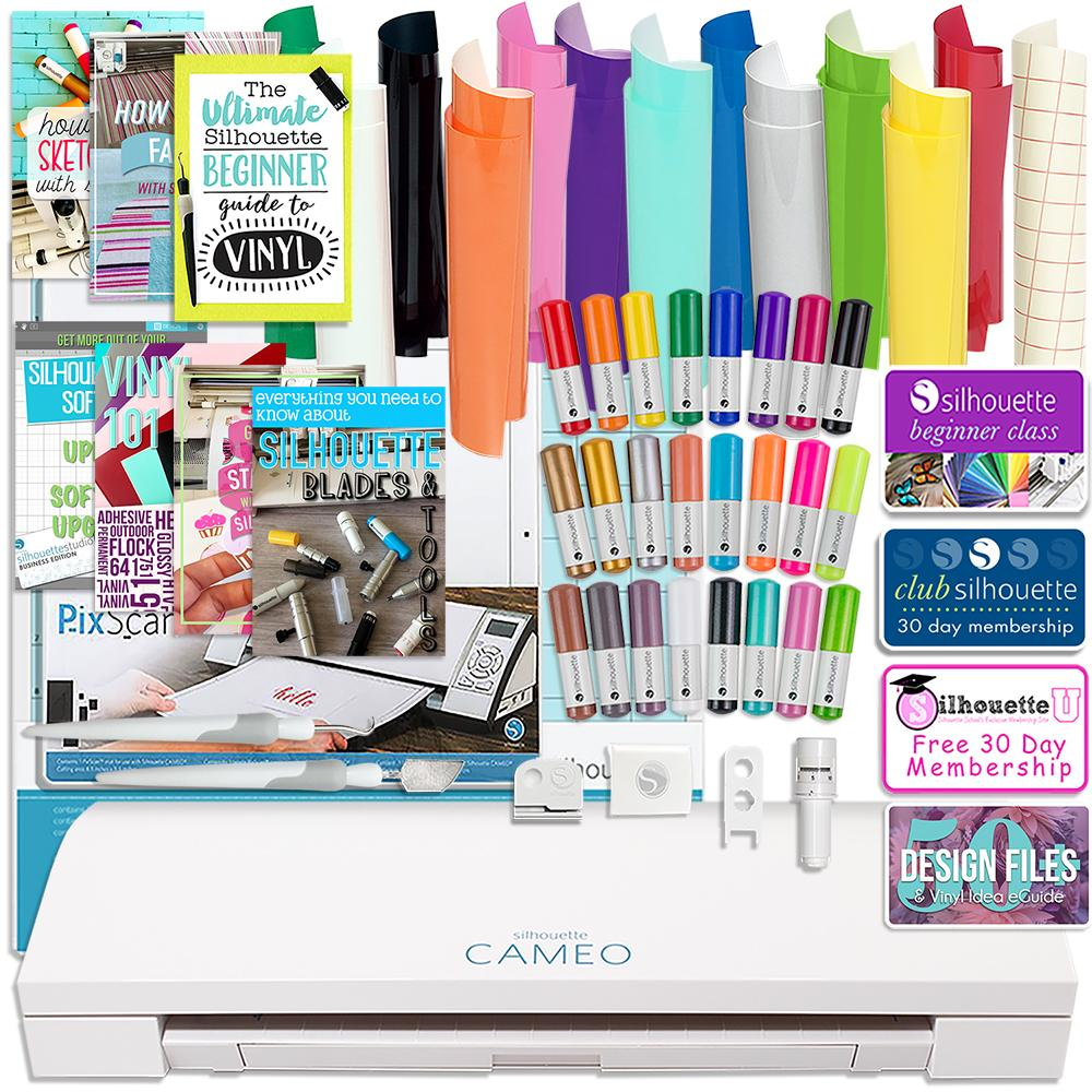 Silhouette Cameo 3 Bluetooth Bundle with Oracal 651 Vinyl, Tools, Pixscan, and More