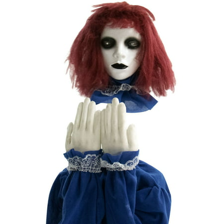 Pale Skin Halloween (Haunted Hill Farm 27 In. Pop-Up Animatronic Haunted Doll | Indoor/Outdoor Halloween Decoration | Red Flashing Eyes | Noises |)