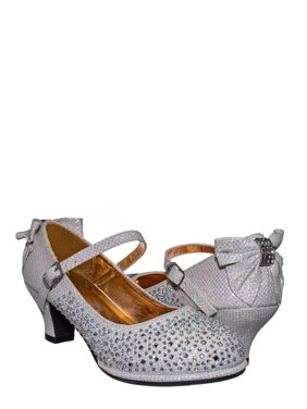 Tasha004E by Little Angel, Girl Rhinestone Crystal Mary Jane Pump - Kids Block Heel Dress Shoes