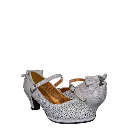 Tasha004E by Little Angel, Girl Rhinestone Crystal Mary Jane Pump - Kids Block Heel Dress Shoes