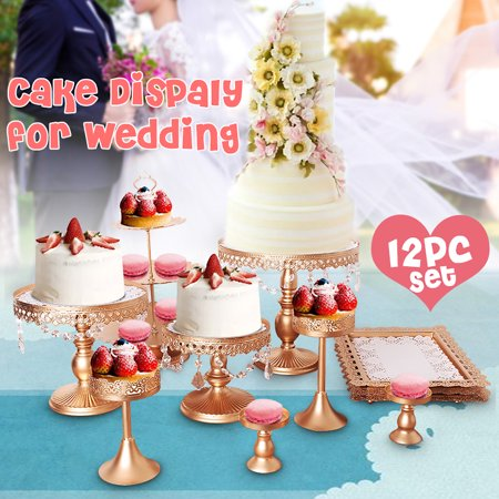 12Pcs White Cake Stand Cupcake Stands Crystal Metal 3 Tier Dessert Display Tower Dessert Cake Holder Pan for Birthday Wedding Party Display