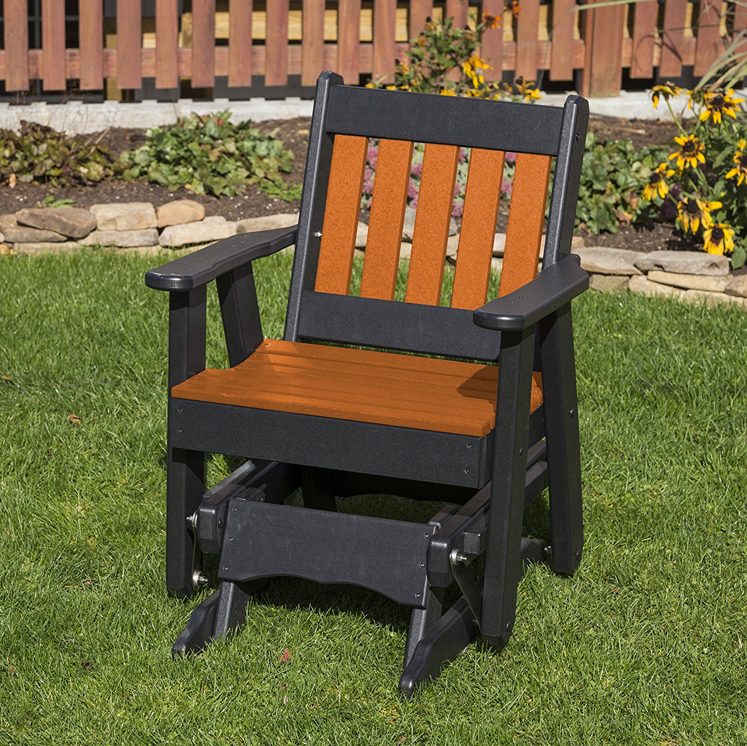 Outdoor Patio Garden Lawn Exterior Bright Orange Finish Poly Lumber Mission 2 Ft Glider Everlasting - Amish Crafted