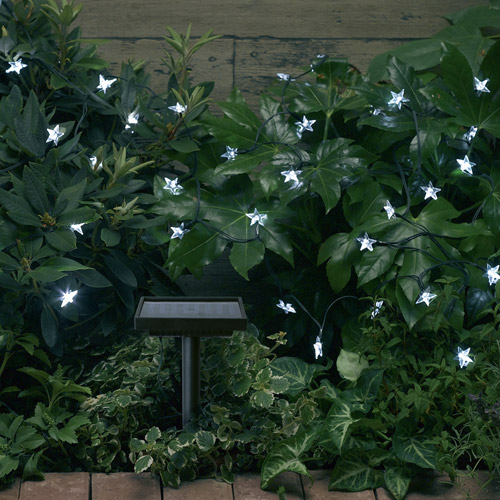 Smart Solar Light String, 30pc, White Stars