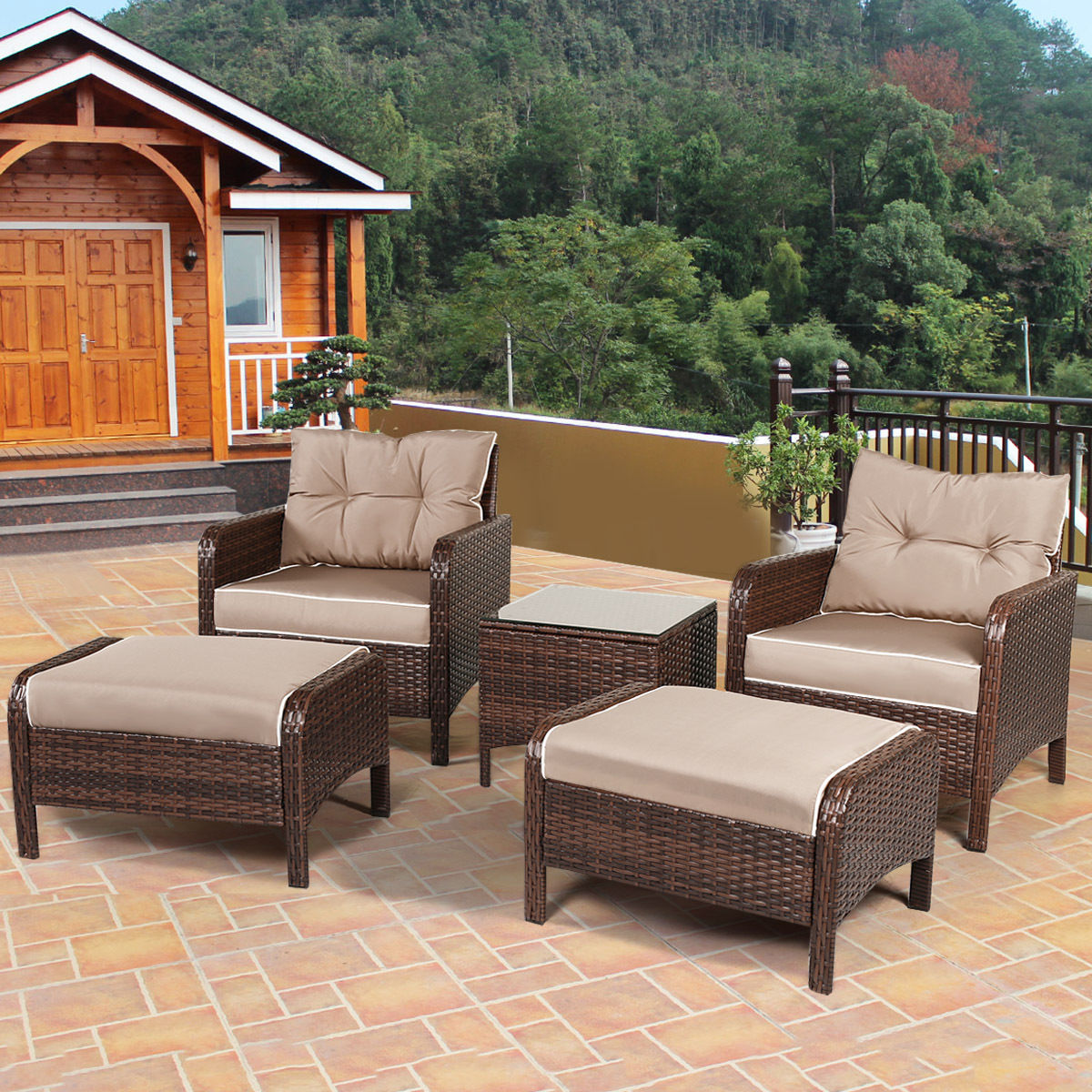 Costway 5 PCS Rattan Wicker Furniture Set Sofa Ottoman W/Brown Cushion  Patio Garden Yard