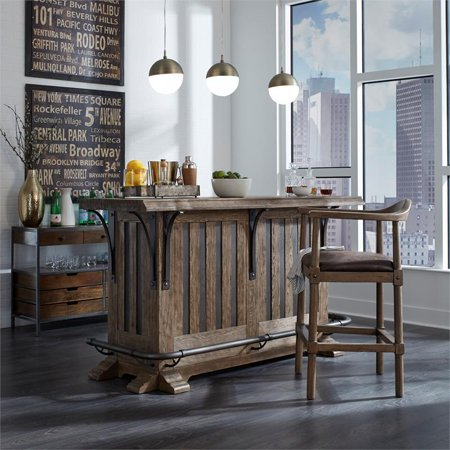 Home Fare Curved Back Wooden Farmhouse Counter Stool - image 1 de 2