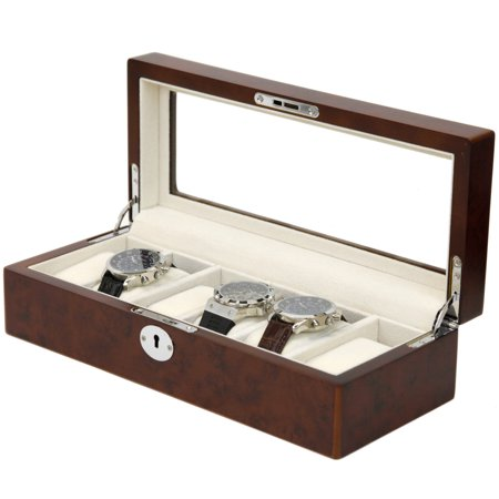 Watch Box Storage Case For 6 Watches Burlwood Finish Display Window Silvertone (Tech Swiss Wood Watch Winder)