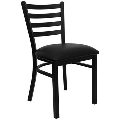 Flash Furniture Ladder Back Chairs - Set of 2, Black Metal / Black Vinyl Seat