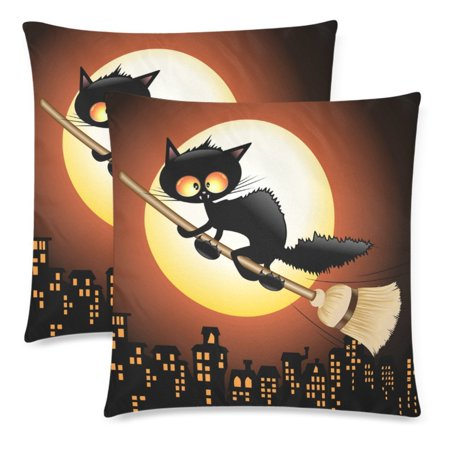YKCG Happy Halloween Pillowcase Pillow Cushion Case Cover 18x18 Twin Sides, Halloween Black Cat Polyester Zippered Pillow Case Decorative, Set of - Black Cats Of Halloween English Cover