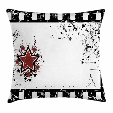 Movie Theater Throw Pillow Cushion Cover, Grungy Illustration of Film Strip with Ornamental Stars Cinematography, Decorative Square Accent Pillow Case, 18 X 18 Inches, Black White Ruby, by Ambesonne