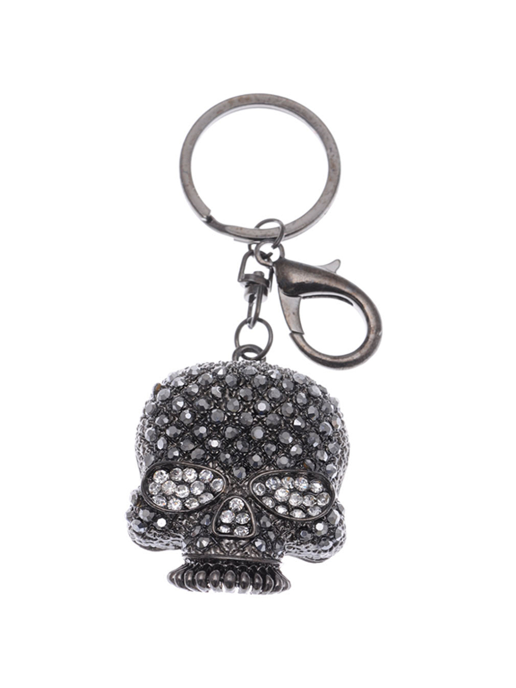 Dark Gunmetal Black Crystal Rhinestone Halloween Skull Head Hook Clip Key Chain