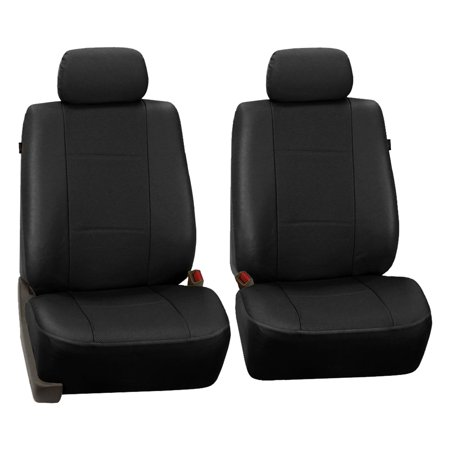 FH Group Black Deluxe Faux Leather Airbag Compatible Front Car Seat Covers, Half Set