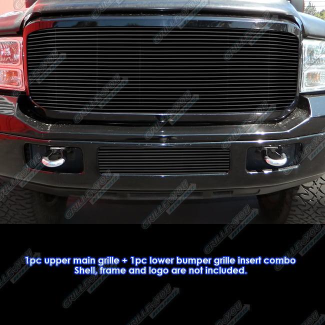 Fits 05-07 Ford F-250/F-350/F-450/F-550 Black Billet Grille Grill Combo Insert