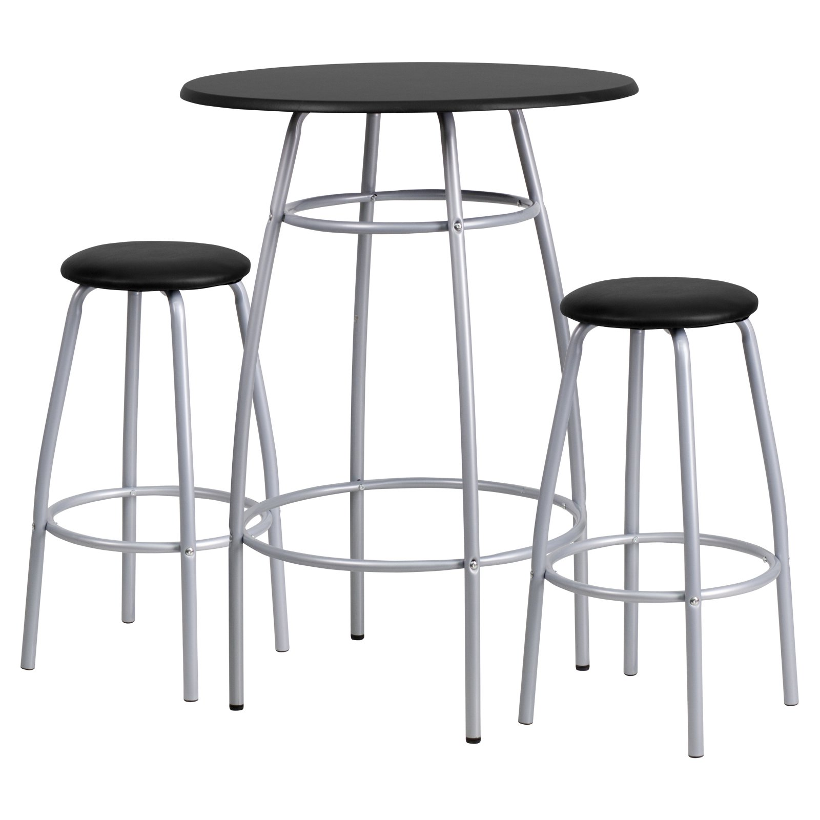 Good Flash Furniture Bar Height Table And Stool Set With Bowed Out Legs, Black