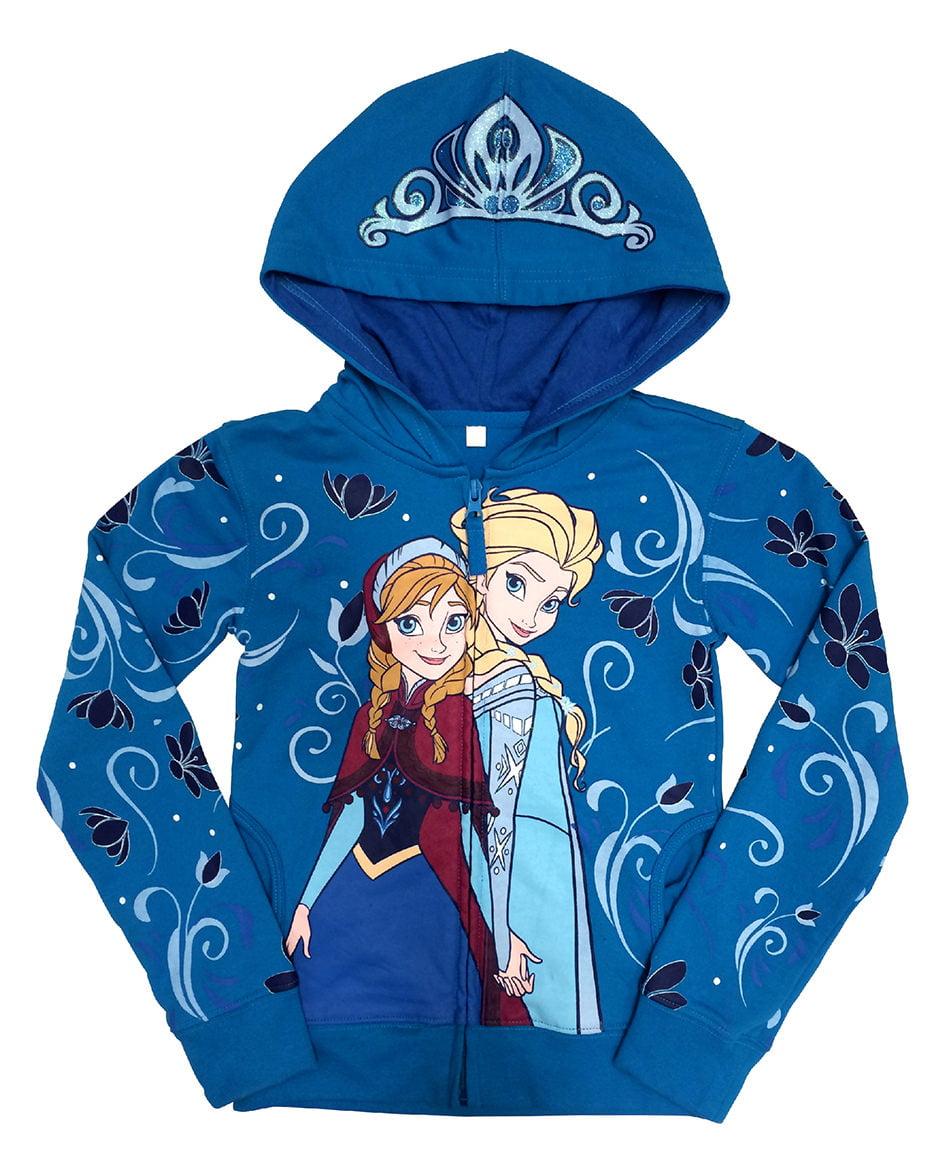 Disney Frozen Anna and Elsa Girls Zip-Up Hoodie Sweatshirt   4
