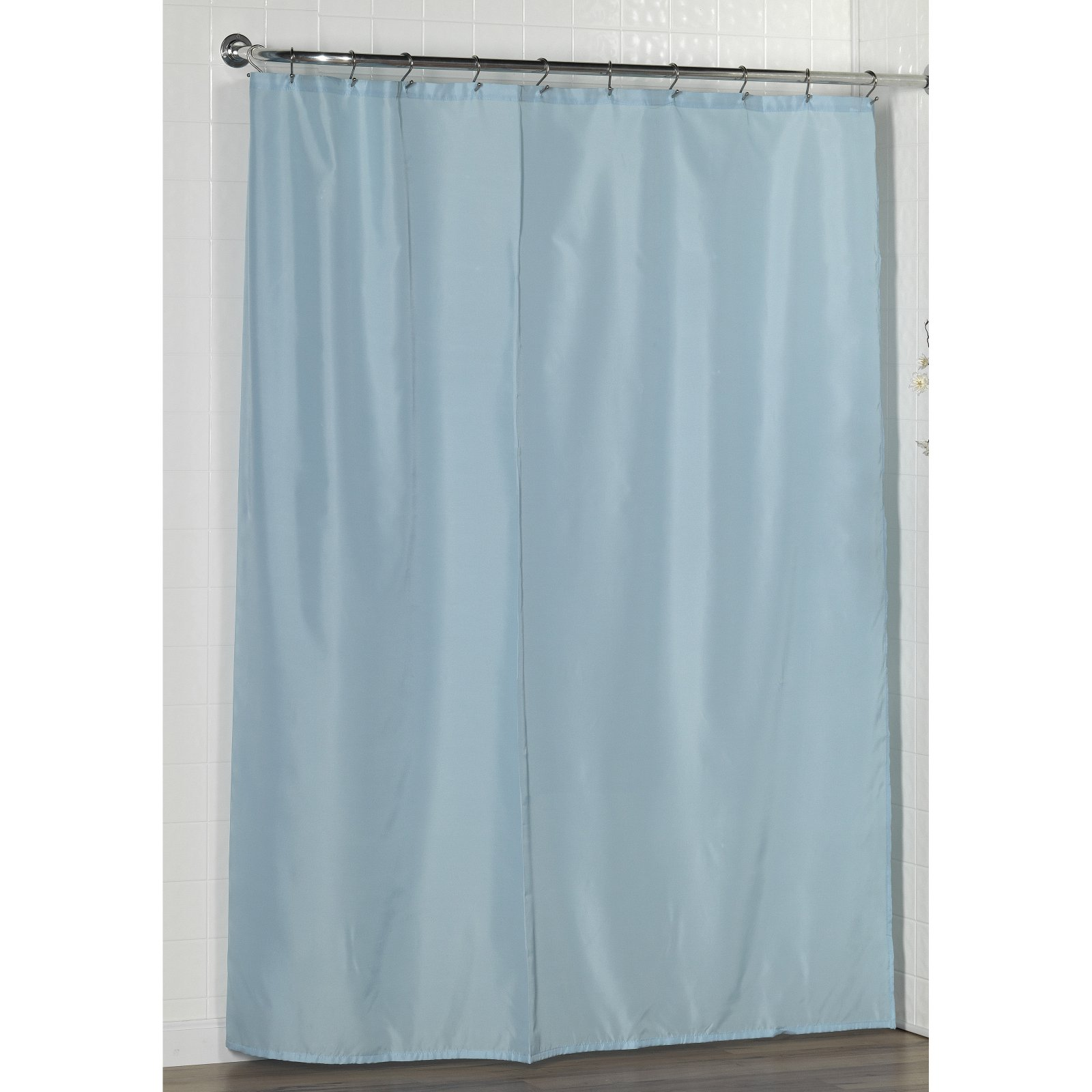 Shower curtain liner with bottom weights