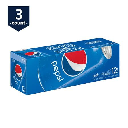 (3 Pack) Pepsi Soda, 12 Fl Oz, 12 Count (Diet Wild Cherry Pepsi 24 Oz Bottles)