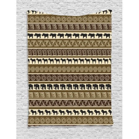 Safari Decor Wall Hanging Tapestry, African Style Geometric Pattern With Wild Animals Image In Horizontal Line Cultural Art, Bedroom Living Room Dorm Accessories, By Ambesonne](Safari Decor)
