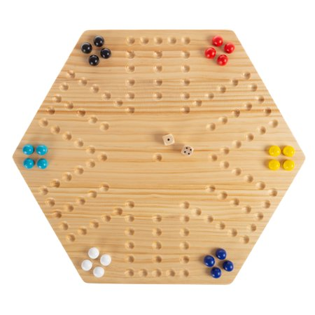 Classic Wooden Strategic Thinking Game-Complete Set with Board, 24 Colored Marbles, 2 Dice-Fun Vintage 6-Player Game For Kids and Adults by Hey! Play