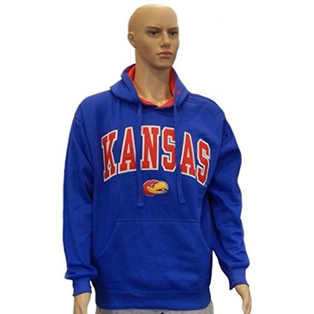 Collie Embroidered Fleece - University of Kansas Jayhawk Officially Licensed Embroidered Logo Pullover Hooded Fleece Sweatshirt Hoodie (Large)