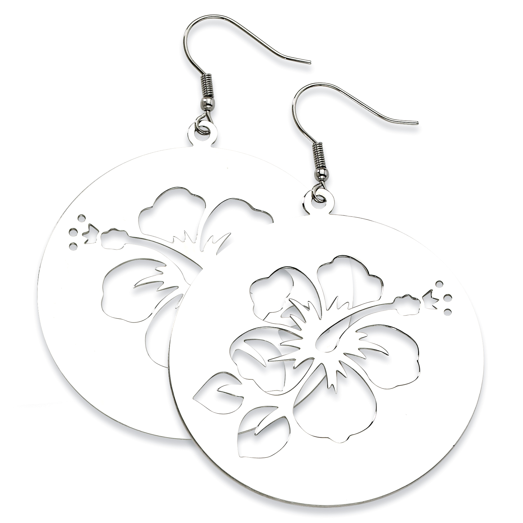 Stainless Steel Hibiscus Cutout Drop Dangle Chandelier Earrings Flower Gardening Fashion Jewelry Gifts For Women For Her - image 2 de 2