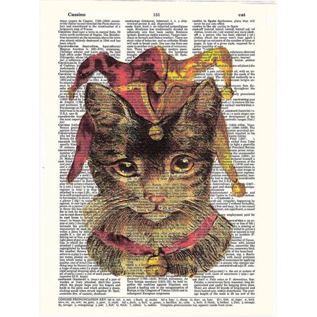 Jester Cat (Art N Wordz Jester Cat Original Dictionary Sheet Pop Art Wall or Desk Art Print)