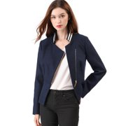 Women's Short Zip Up Chic Biker Moto Jacket Pea Coat Jackets L Dark Blue