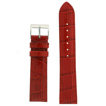 22mm Watch Band Red Genuine Leather Crocodile Grain