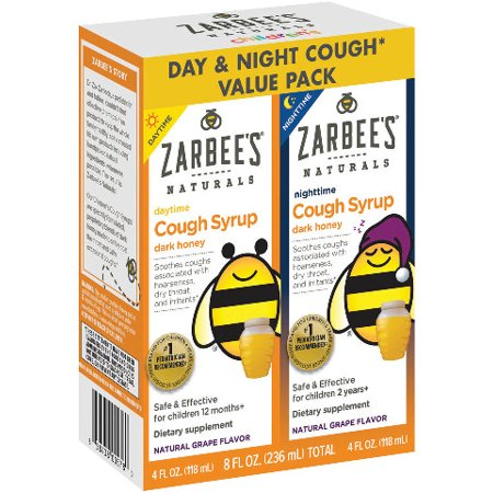 Zarbee's Naturals Children's Cough Syrup with Dark Honey Daytime & Nighttime, Natural Grape Flavor, 8 Fl. Ounces Total (Value Pack of